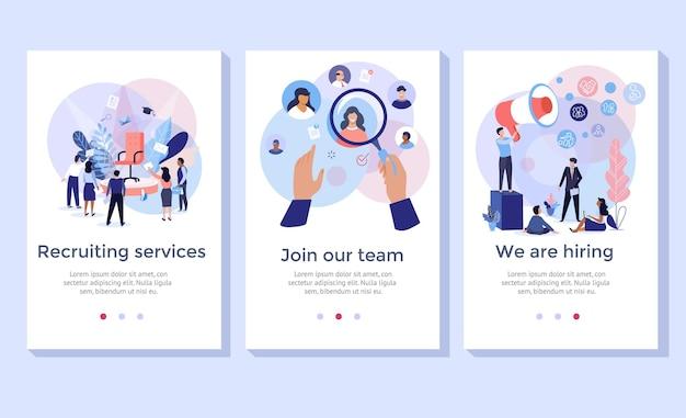 Conjunto de ilustração de conceito de serviço de recrutamento, perfeito para banner, aplicativo móvel, página de destino