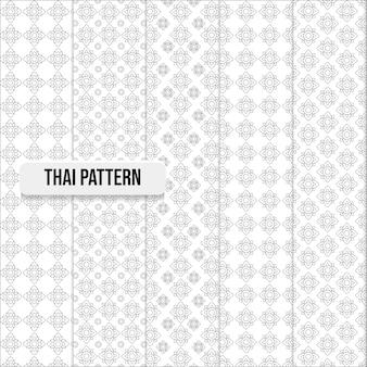 Conjunto de ilustração de conceito tradicional de padrão tailandês sem costura