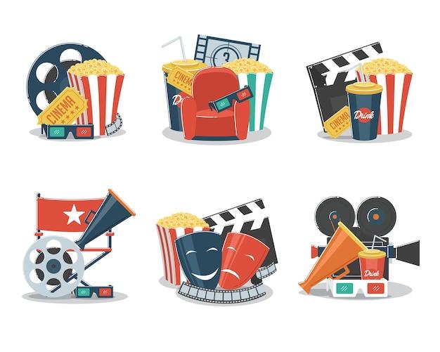 Conjunto de ilustração de conceitos de cinema e cinema com elementos de cinema