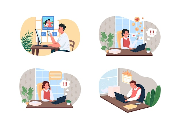 Conjunto de ilustração de conceto de burnout