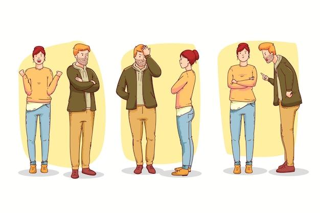 Conjunto de ilustração de conflitos de casal