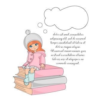 Conjunto de ilustração de cor de garota de escola