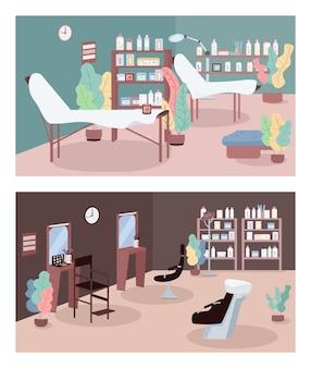 Conjunto de ilustração de cor plana de salão de beleza. centro de cuidados da pele