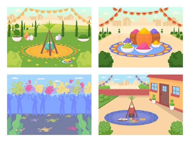 Conjunto de ilustração de cor plana para celebração de festival indiano
