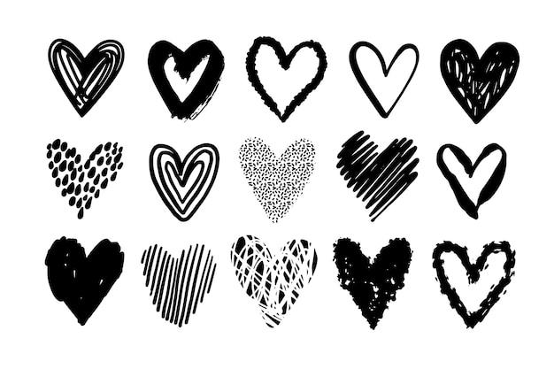 Conjunto de ilustração de coração desenhado à mão