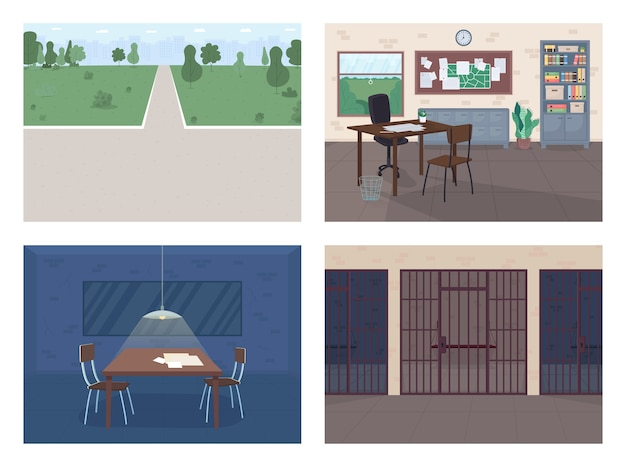 Conjunto de ilustração de cores planas da delegacia de polícia escritório do policial vazio sala de interrogatório investigação de crime parque público departamento jurídico d interior dos desenhos animados com móveis