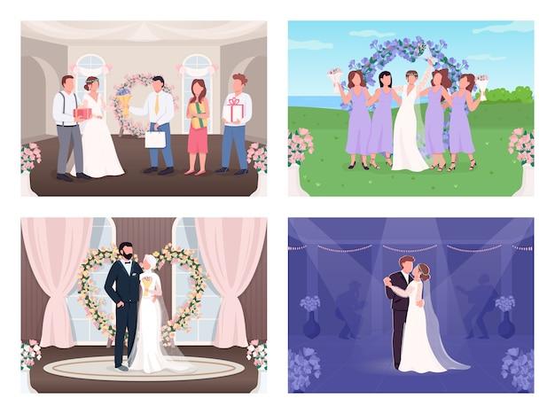 Conjunto de ilustração de cores planas para celebração de casamento