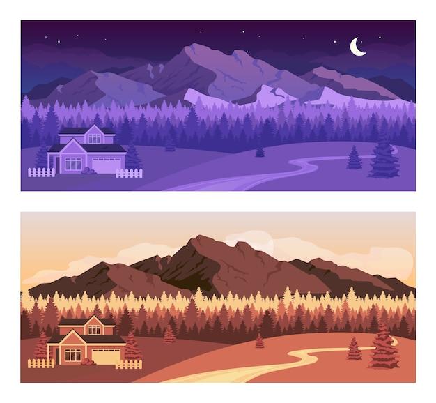 Conjunto de ilustração de cores planas para montanhas de dia e noite