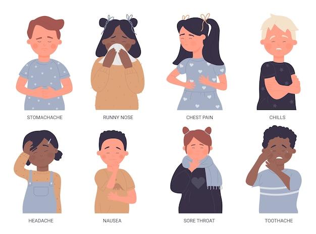 Conjunto de ilustração de crianças doentes. coleção de crianças com problemas de saúde de menino e menina insalubres com dor de garganta, dor de estômago, dor de cabeça, dor de dente, gripe, criança chorando