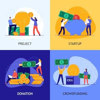 Conjunto de ilustração de crowdfunding