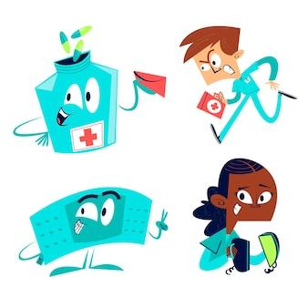 Conjunto de ilustração de cuidados de saúde desenhada à mão