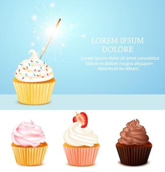 Conjunto de ilustração de cupcake de aniversário