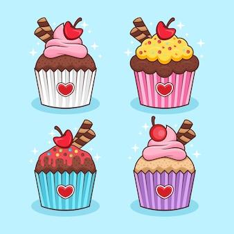 Conjunto de ilustração de cupcake
