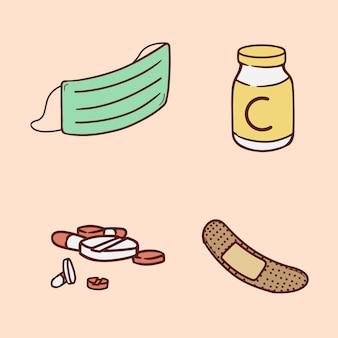 Conjunto de ilustração de desenho a mão de medichine