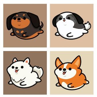 Conjunto de ilustração de desenho animado de cachorro kawaii fofo