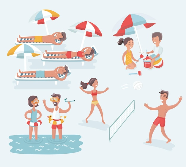 Conjunto de ilustração de desenho animado de cena de pessoas diferentes descansando na praia de verão