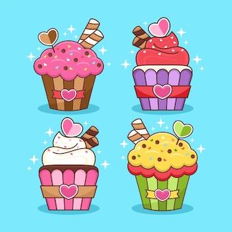 Conjunto de ilustração de desenho animado de cupcake fofo