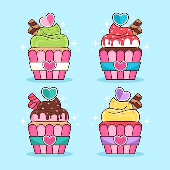 Conjunto de ilustração de desenho animado de cupcake