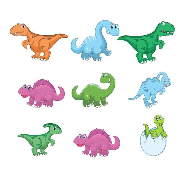 Conjunto de ilustração de desenho animado de dinossauro fofo