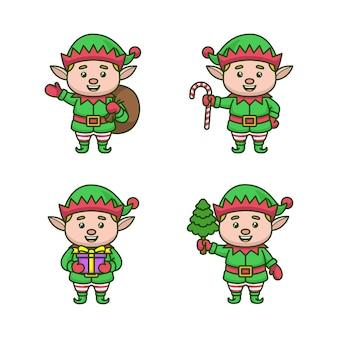 Conjunto de ilustração de desenho animado de gnomo verde