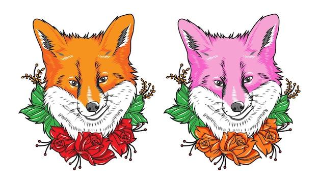 Conjunto de ilustração de desenho animado de raposa fofa