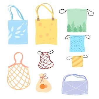 Conjunto de ilustração de desenho animado de sacos ecológicos coloridos