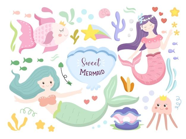 Conjunto de ilustração de desenho animado de sereia fofa
