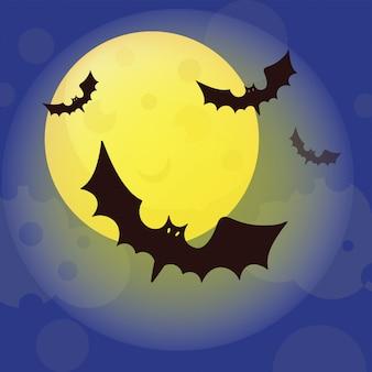 Conjunto de ilustração de desenho animado moon halloween flat design