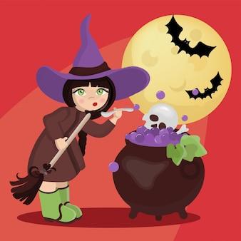 Conjunto de ilustração de desenho animado wizard moon mystic holiday