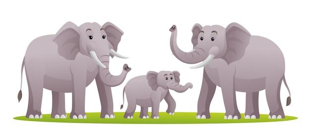 Conjunto de ilustração de desenho de família de elefante