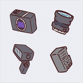 Conjunto de ilustração de desenho de mão de câmera digital