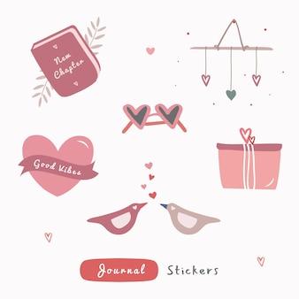 Conjunto de ilustração de desenho de mão para registro no diário, adesivo ou elementos com o tema de amor.