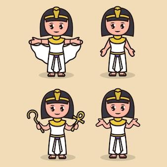Conjunto de ilustração de desenho de mascote de cleópatra egito fofo