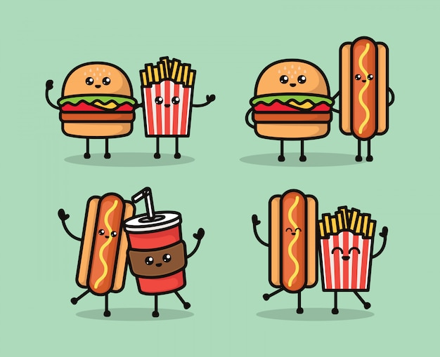 Conjunto de ilustração de desenho de mascote de fast-food fofo kawaii