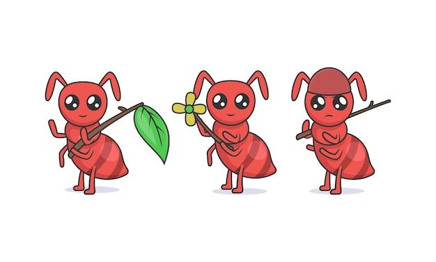 Conjunto de ilustração de desenho de mascote de formigas kawaii fofas