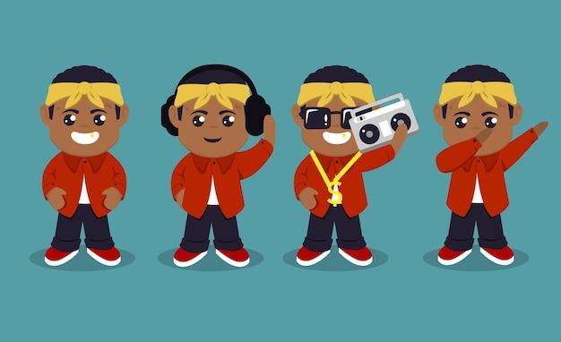Conjunto de ilustração de desenho de mascote de hip-hop de rapper fofo