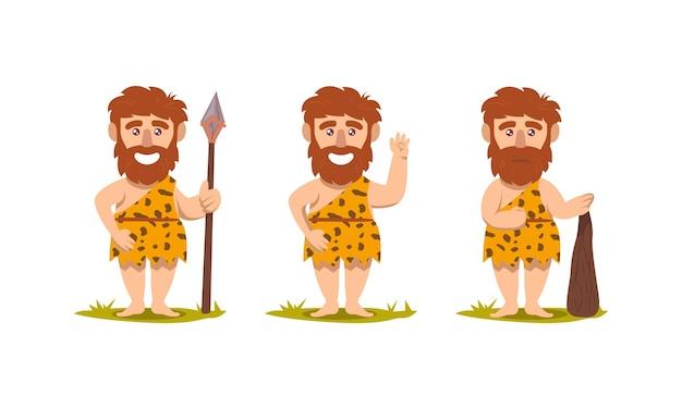Conjunto de ilustração de desenho de mascote neandertal pré-histórico do homem das cavernas
