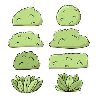 Conjunto de ilustração de desenhos animados de arbustos bonitos