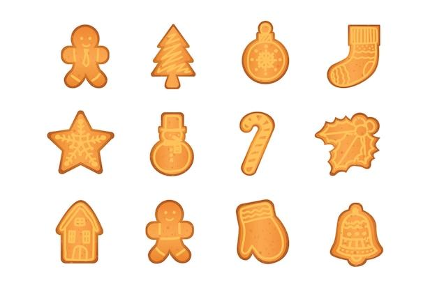 Conjunto de ilustração de desenhos animados de biscoitos de gengibre isolado no fundo branco decoração da árvore de natal meia boneco de neve bola estrela homem doce casa