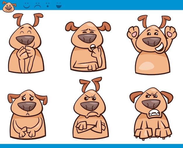 Conjunto de ilustração de desenhos animados de emoção de cachorro