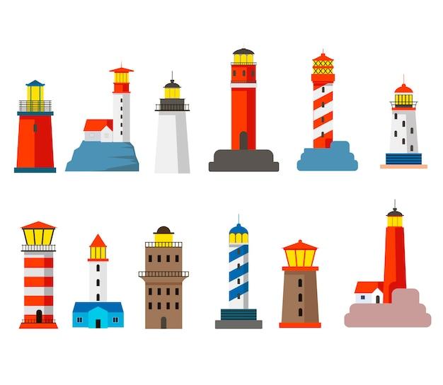 Conjunto de ilustração de desenhos animados de faróis coloridos