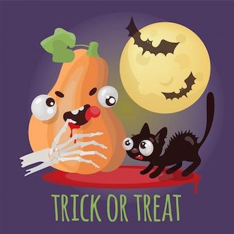 Conjunto de ilustração de desenhos animados de halloween doçura ou travessura