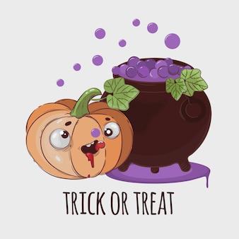 Conjunto de ilustração de desenhos animados de halloween pumpkin potion