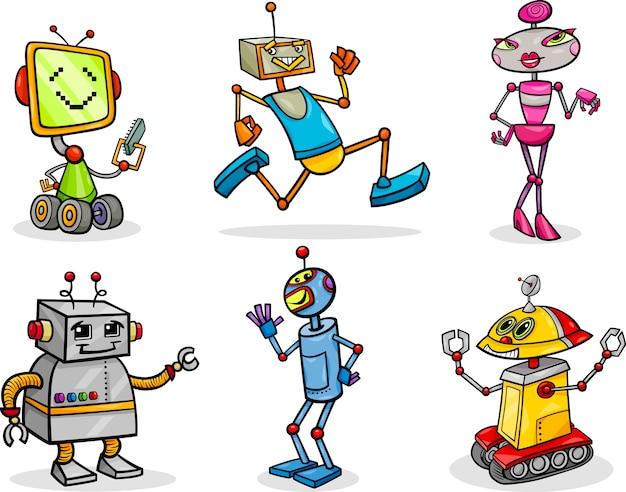 Conjunto de ilustração de desenhos animados de robôs ou droids