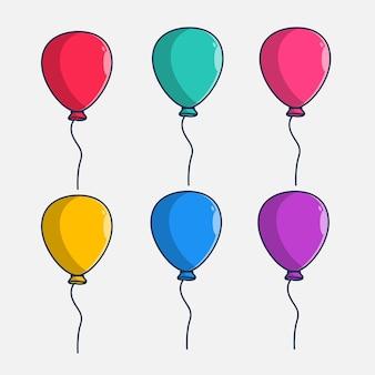 Conjunto de ilustração de design de balões coloridos