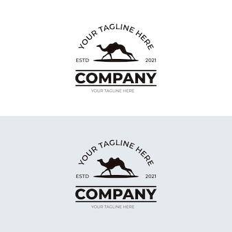 Conjunto de ilustração de design de logotipo de camelo