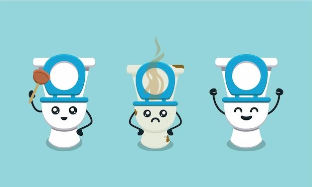 Conjunto de ilustração de design de logotipo de mascote de banheiro fofo