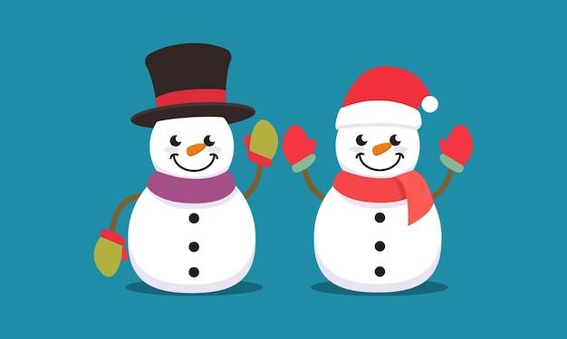 Conjunto de ilustração de design de logotipo de mascote de natal de boneco de neve fofo