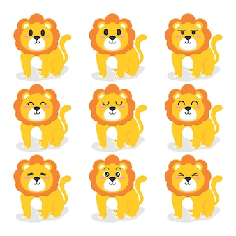 Conjunto de ilustração de design plano de leão fofo