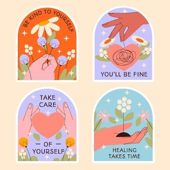 Conjunto de ilustração de design plano de saúde mental